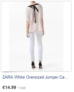 ZARA White Oversized Jumper Cardigan Bow Back fashionistas/bloggers MUST HAVE