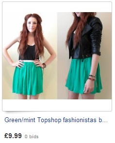 Green/mint Topshop fashionistas bloggers skirt size 12-14