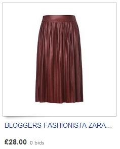 BLOGGERS FASHIONISTA ZARA LEATHER EFFECT PLEATED FLOPPY SKIRT MAROON SIZE S