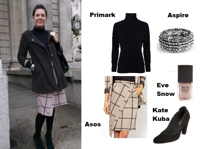 Clockwise from top left: Primark rollneck, Aspire cuff, Eve Snow nail polish, Kate Kuba shoes, Asos Skirt