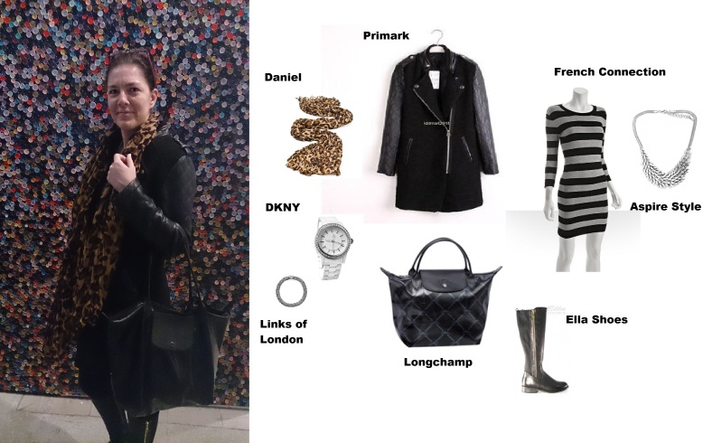 From top to toe - Daniel Scarf in Leopard Print, Primark leather sleeved wool coat, French Connection Striped Grey dress, DKNY watch, Aspire Style feather statement necklace, signature print Longchamp tote, and Ella shoes Zippy boots