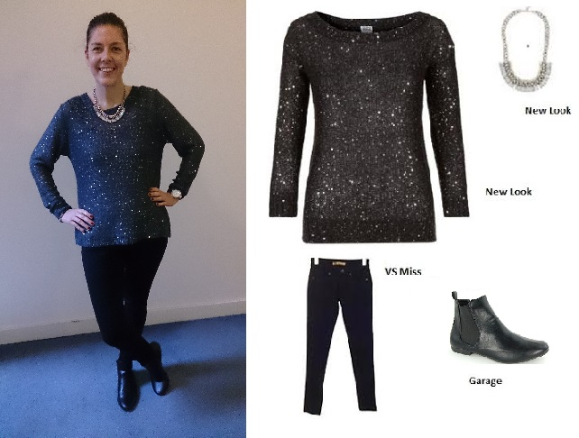 Clockwise from top left: New Look Sparkly jumper, New Look Chunky chain necklace, comfy ankle boots from Garage and skinny fit jeans from VS