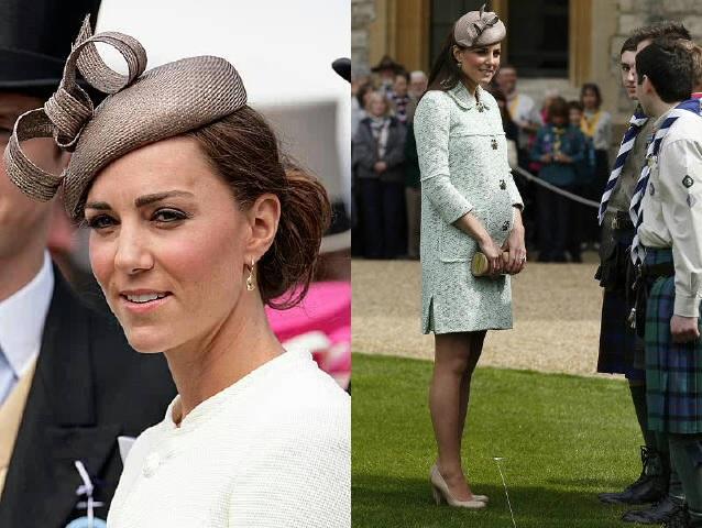 Kate wears her fascinator with hair up, and down (and baby bump)