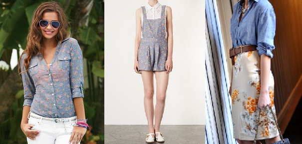 Floral Chambray blouse from Delias, Topshop floral chambray romper, H&M Chambray tunic, D&G floral skirt