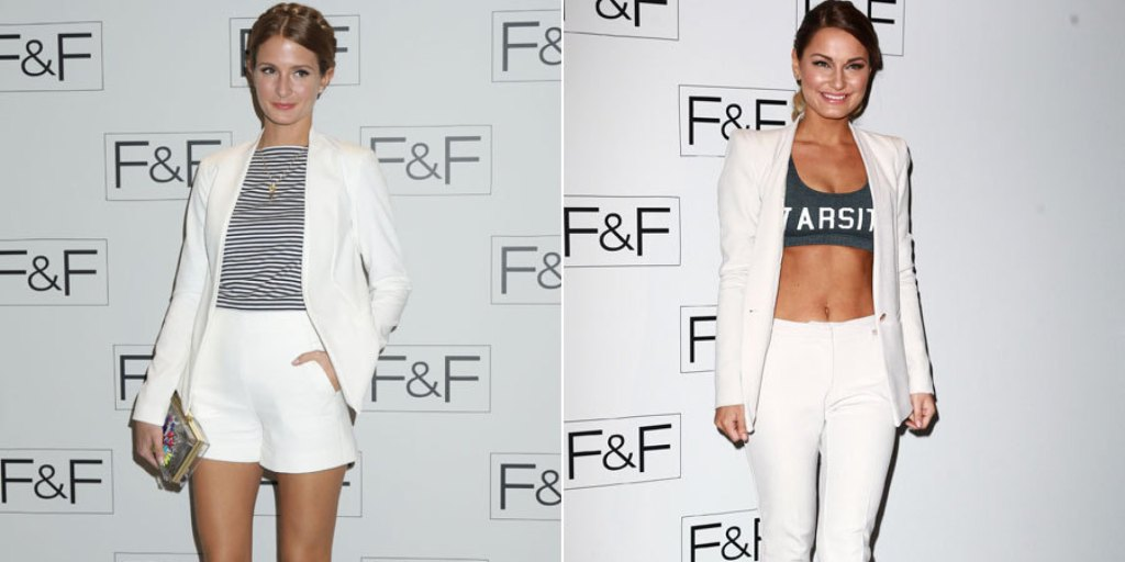 F&F Fashion Show attended by Millie MacIntosh and Sam Faiers in... Yup, White jackets