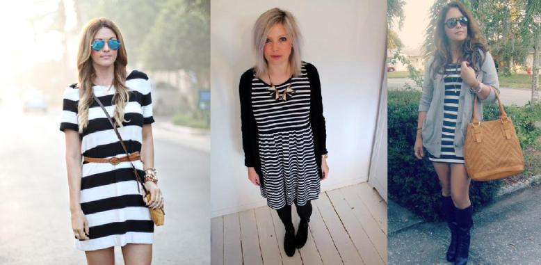 Cailtin wears summer stripes, while Rosie and Jasmine add a sweater, boots or tights for the autumn look