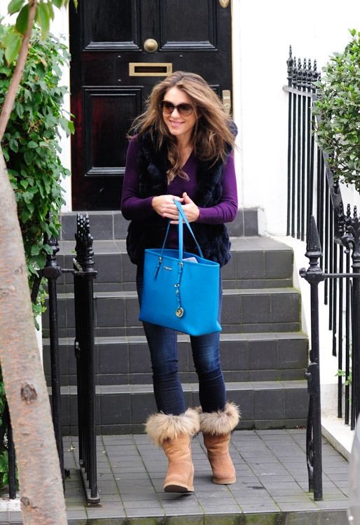 Liz Hurley and her Jet Set Tote