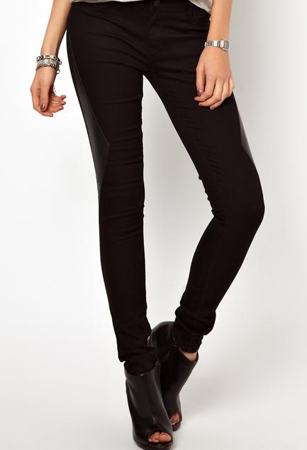 2nd Day Jolie Leather Insert Skinny Jeans