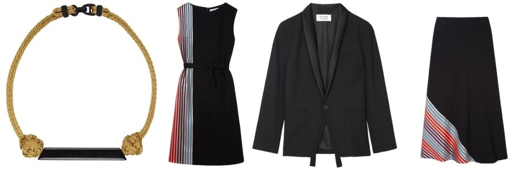 From Left: 3D Printed Rope Necklace £40.00  Belted Sleeveless Dress £150.00 Unisex Tuxedo Jacket £150.00 A-Line Striped Skirt £120.00